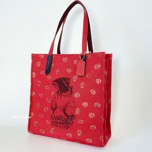 COACH Canvas Tote  with Roses Print Randy the Rat